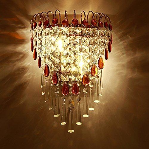 yyhaoge Crystal Wall Lamp, Schlafzimmer, Nachttischlampe, Wandleuchte, Wohnzimmer Wand im Hintergrund, Golden Crystal Wall Lamp, Wandleuchte zu Ingenieurwissenschaften des Hotels Sj2205