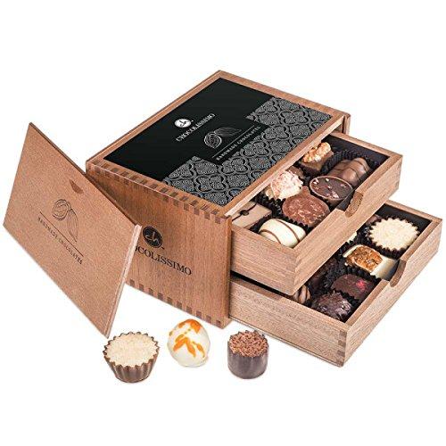 Chocolaterie - 20 Pralinen im Holzkästchen| 20 Luxus Pralinen | Schokolade | Geschenkidee | Geburtstagsgeschenk | Frauen | Männer | Mutter | Mama | Papa | Muttertag | Vatertag