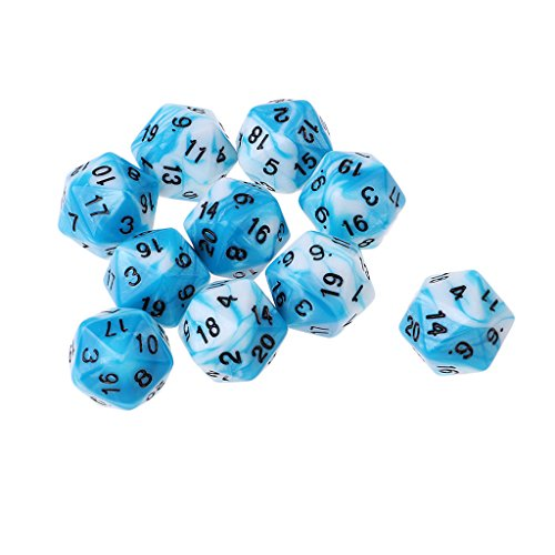Sunnimix 10 pz / set 20 dadi d20 lati per dungeon e draghi per giochi trpg - blu bianco