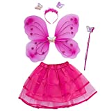 TOOGOO chica 4 unids grupo princesa brillo mariposa partido traje alas varita diadema Tutu Falda de hadas (3-10anos) rosa roja
