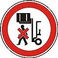 Verbotszeichen - nicht unter angehobene Last treten - Ø 50 mm - 6 Verbotsschilder aus Polypropylen Folie, weiß (Aufdruckfarbe: schwarz/rot), permanent haftend