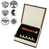 Mogoko - Stampi in rame per sigilli di ceralacca, 6 pezzi, con 1 manico in legno vintage, stile classico, motivi vari Style #3