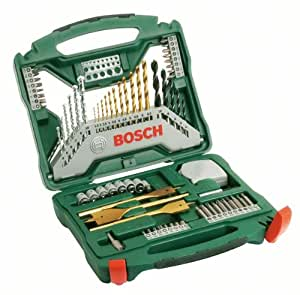bosch titanium drill and screwdriver set 70 pieces diy tools. Black Bedroom Furniture Sets. Home Design Ideas
