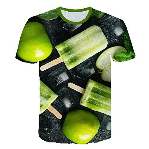 Casual Fashion 3D-T-Shirt, Herren- und Damen-T-Shirt, kühle und Bequeme Sommer-Kurzarm, Ice Cream Pattern XXL