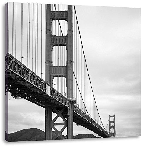 Pixxprint Blick auf Brücke in San Francisco Schwarz/Weiß, Format: 40x40 auf Leinwand