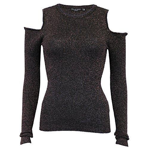 Damen ausgeschnitten kalte Schulter Pullover Brave Soul Damen Strick Lurex Pullover NEU - schwarz - 249shine, Small (Lurex-kabel)