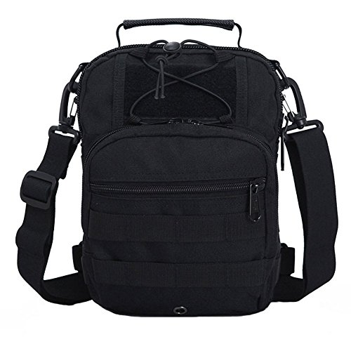 ueasy Kompakte Mehrzweck-Tactical MOLLE Sling Pack Brust Pack Tactical Rucksack Military Sport Pack Schulter Rucksack schwarz - schwarz