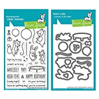 "Lawn Fawn Really High Five 4""x6"" Clear Stamp Set and Coordinating Custom Craft Die Set (LF2215, LF2216), Bundle of 2 Items"
