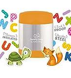 Mummy Cooks - Lunchbox Boite Thermos Alimentaire pour Enfant et Bébé Récipient Isotherme et Hermétique Conteneur Conservation Repas Chaud ou Froid en Inox 300ml (Orange) - STICKERS OFFERTS