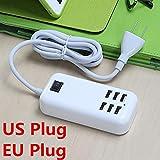 Amyove Striscia Adattatore da Viaggio Alimentazione a 4 Prese / 6 uscite con Interruttore Presa a Muro USB 6-Port EU Plug