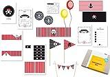 Einladung, Dekoration & Spielideen für Kindergeburtstag Pirat Seeräuberparty (10 Kinder)
