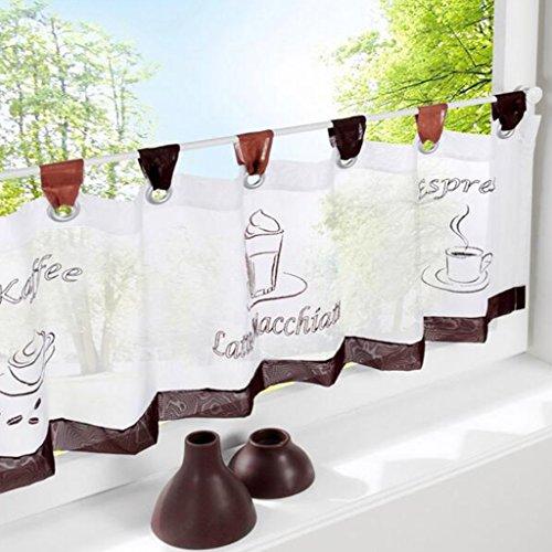 Simpvale 1 pezzi cotone lino cafe corto tenda cucina tenda mantovana, 60cm(length)x120cm(width)