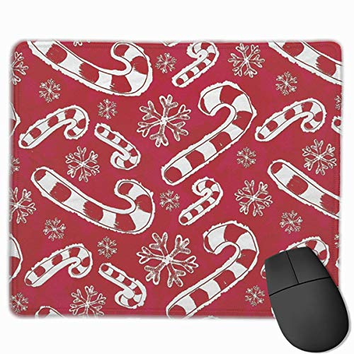 Mouse Pad Rectangle Rubber Non-Slip Mousepad Christmas Candy Cane Print Gaming Mouse Pad
