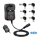 IKOCO New Wall Plug-in Switchable Multi Voltage Adapter Power Transformer,3V-12V Adjustable Voltage Control,6Pcs DC Replaceable Tips for Camera,Router,Shaver,Toy Car Series and Other Rechargeable Devices