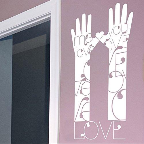 """vinilo decorativo """"Manos y antebrazos love"""". Color blanco. Medidas: 50x100cm"""