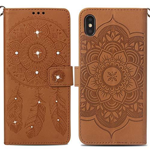 """Preisvergleich Produktbild Handy hülle Tasche Leder Flip Case Brieftasche Etui Schutzhülle für Apple iPhone X XS iPhone XR iPhone XS MAX hülle, 8 Farben (iPhone XS Max6, 5"""",  Braun)"""