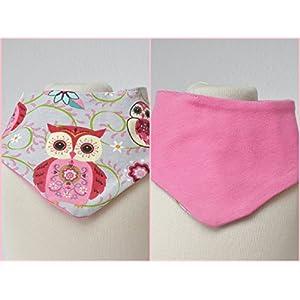 Baby Wende Lätzchen Halstuch Eulen grau/uni rosa Mädchen 0-3 Jahre