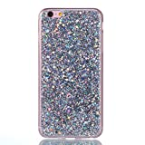 "Silicone Case for iPhone 6S Plus,Glitter Case for iPhone 6 Plus,Leeook Luxury Bling Glitter Shiny Change Color Silver Soft Gel Flexible Rubber Tpu Bumper Protective Case Cover for iPhone 6 Plus/6S Plus 5.5"" + 1 x Free Black Stylus-Glitter Silver"