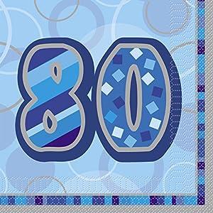 Unique Party- Paquete de 16 servilletas de Papel cumpleaños, Color azul, edad 80 (28467)