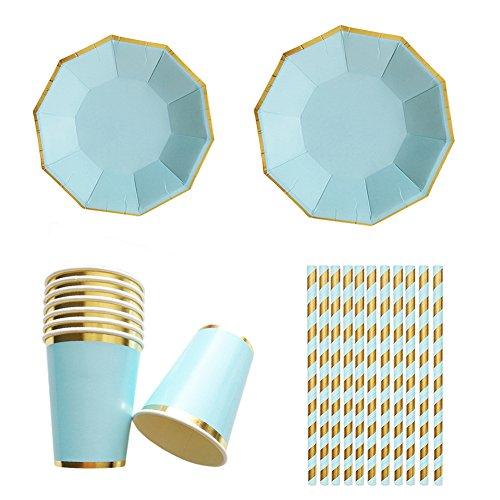 irr-Set mit goldfarbenen Streifen, Einweg-Pappgeschirr für Geburtstag, Hochzeit, Dekoration (8 Teller à 22,9 cm, 8 Teller à 17,8 cm, 8 Pappbecher, 25 Papierstrohhalme) blau ()