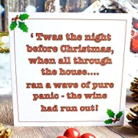 Pack of 4 Funny Christmas Cards - Xmas Wine Drinking Humour - 'Twas the Night