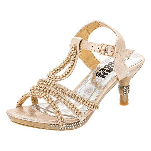 Max Shoes Festliche Mädchen Pumps Sandalen Absatz Glitzer Mädchenschuhe in vielen Farben M318go Gold Gr.35