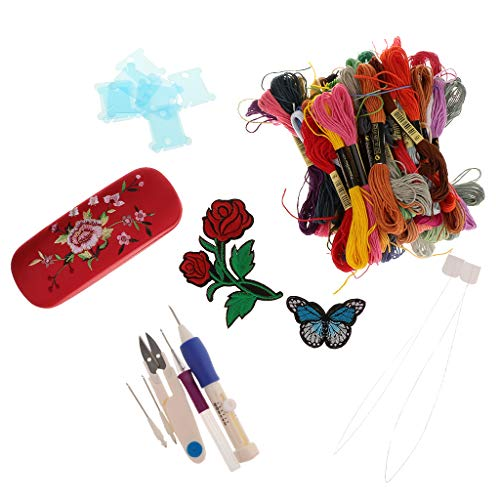 perfk Kreuzstich Stickerei Set Embroidery Starter Kit Stickpackung 50 Farben Stickgarn und Punch Nadeln Stickzubehör - Punch-stickerei-starter-kit