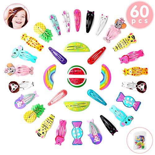 Ucradle Haarspangen Mädchen, 60 Stück Haarclips | Karikatur Entwurfs Obst | Tiere Metalldruck | Haarklammern für Kleinkinder, Kinder, Mädchen(30 verschiedene Designs)