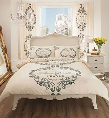 Cream & Charcoal Script Printed Duvet Cover Sets