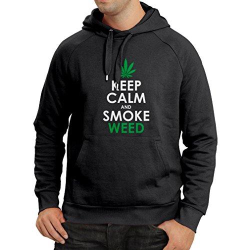 lepni.me Kapuzenpullover Halten Sie Ruhe und Rauch - Marihuana Blatt - Unkraut Raucher (XX-Large Schwarz Fluoreszierend) (Hawaii-shirt Bambus)