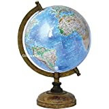 Globeskart Educational/Antique Globe With Brass Antique Arc And Wooden Base / World Globe / Home Decor / Office Decor / Gift Item / 8 Inches (Laminated Physical Globe)