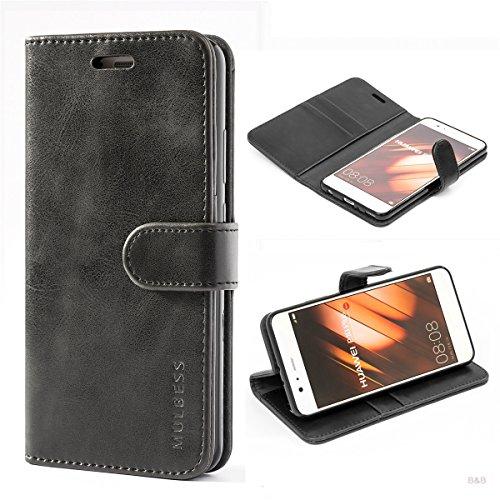 Cover Libro Huawei P10 Plus,Custodia Huawei P10 Plus,Mulbess Custodia in Pelle con Portafoglio per Huawei P10 Plus Cover Nero