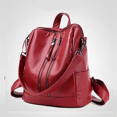 Zainetto Donna PU tutte le stagioni Casual formale Ufficio Outdoor&carriera viaggiando benna Zipper Giallo Rosso Nero Oro Blu,rosso