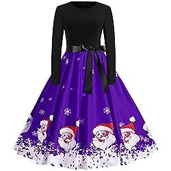 OverDose Damen Frohe Weihnachten Stil Frauen Vintage Print Langarm Weihnachten Abend Party Cosplay Elegante Slim Swing Kleid Geschenk(A-Violet,M)