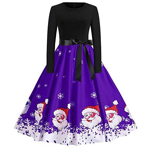 ODRD Clearance Sale【S-2XL】 Weihnachten Kleider Damen Kleid Bedruckte Lange Ärmel Abendball Kostüm Weihnachtsabend Weihnachtsmann Kleider Ballkleid Festliche Elegant Schädel Abend Swing Dress Party