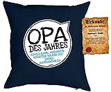 Opa/Deko-Kissen/Sofa-Kissen m. Füllung +Spaß-Urkunde: Opa des Jahres Vorbild Kumpel Handwerker Beschützer Berater Chef einfach aussergewöhnlich