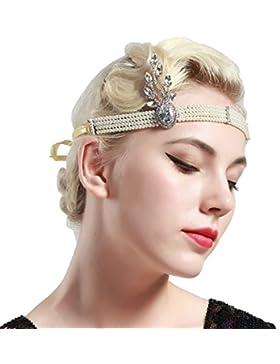 Babeyond Perla borla Flapper cadena de la cabeza Gatsby banda de la venda de cristal Hairband nupcial (plata)
