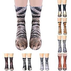 Socks,EUZeo Unisex Adult Animal Paw Crew Socks Sublimated Print by EUZeo