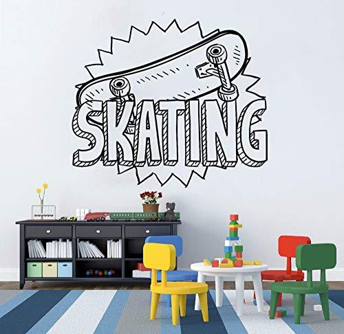 Vinyl Aufkleber Skating Sport Wandtattoo Kinder Geschenk Skateboard Wandkunst Wand Kids Room Removable Home Decor A weiß 42x36cm ()