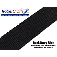 Dark Navy Blue 25mm Width Cotton Webbing Tape Belting Fabric Strap Bag Making Apron Strapping (5 Meters)