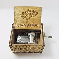 Bayram Caja de música Game of Thrones de madera con manivela   Reloj con manivela para la famosa melodía con el diseño de Winter is Coming - Jedi Regalo Gadget