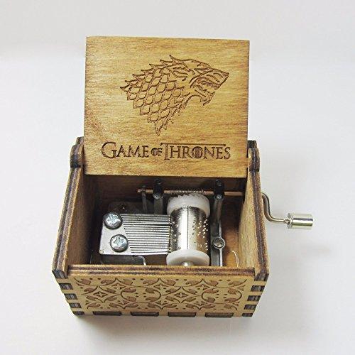 Bayram® Game of Thrones Musik-Box mit Handkurbel aus Holz | Spieluhr zum Kurbeln für Das berühmte Melodie Fanartikel – Instrument Geschenk Gadget