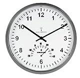 UNILUX 100340847 Funk-Wanduhr Tempus Funk-Uhr metall-grau automatische Zeitanpassung automatische Zeitumstellung von Sommer- und Winterzeit modernes Ziffernblatt
