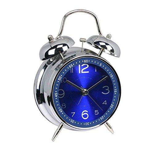 """ALEENFOON 4\"""" Metall Retro Zwilling Glocke Analoge Wecker Ohne Ticken Lautlos Kinder Quarzuhr Laut Extrem Batteriebetrieben Mechanisch Reisewecker (Blau)"""