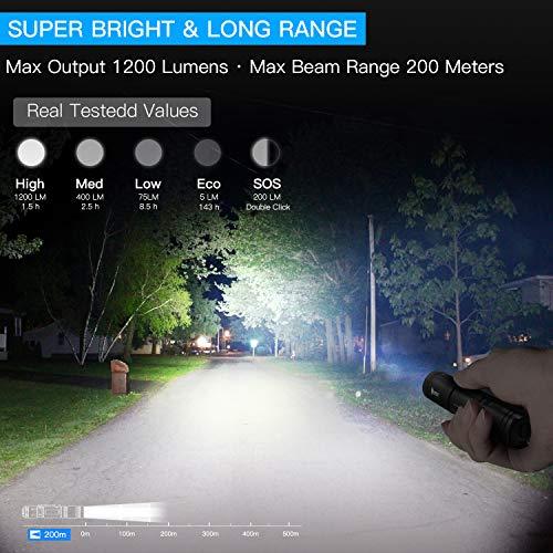 WUBEN Linterna LED Alta Potencia,  Recargable USB 1200 LM Super Brillante Antorcha Táctica Militar Pequeña Linterna de Mano,  Resistente al agua IPX8,  5 Modos,  Con batería 18650,  para Ciclismo Camping