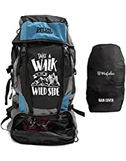 Mufubu Presents Get Unbarred 55 LTR Rucksack for Trekking, Hiking with Shoe Compartment (Black/Blue)
