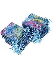 QIMEI-SHOP Bolsas de Organza de Regalo 100 Piezas Bolsitas para Regalos Coralina Azul Bolsitas de Organza para Boda Favores y Joyas 12 x 9 cm