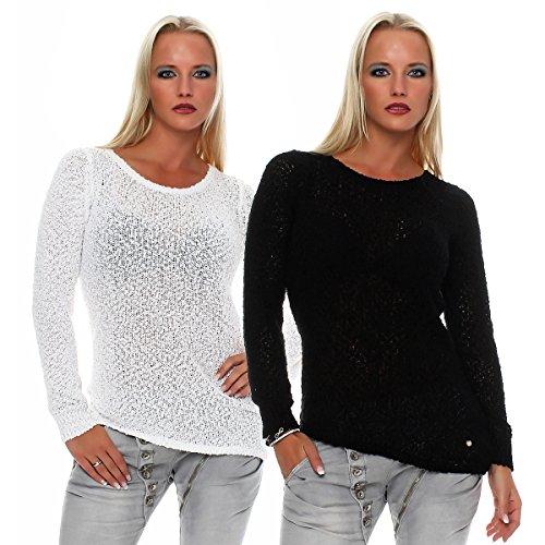 SUBLEVEL Damen Strick Pullover Rundhals Pulli langarm Netzshirt 436A Schwarz
