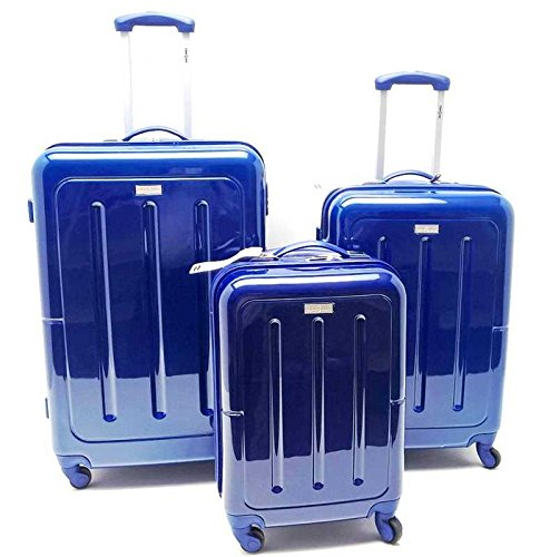 Set Tre Trolle ABS Rigido Policarbonato Clacson 4 ruote Lucido con Trolley Bagaglio a Mano,Blu