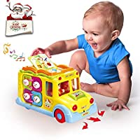 ACTRINIC Baby Toys Early Educational Intellectual Bus Toy Vehicle with Multiple Function,Various Animal Sounds,Music,Lights and Omnidirectional Auto-Sensing Wheel,Best Gift Toys for Boys / Girls
